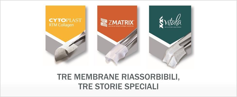 Tre membrane riassorbibili, tre storie speciali